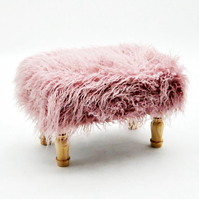 Deluxe Fluffy Footstool Hand Made Lounge Padded Foot Stool Shaggy Antique Pink
