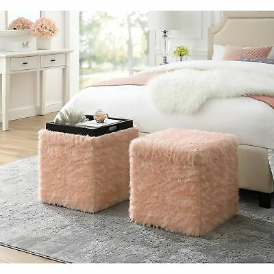 Faux Fur Ottoman Bench Serving Tray Top Storage Cube Footstool Coffee Table