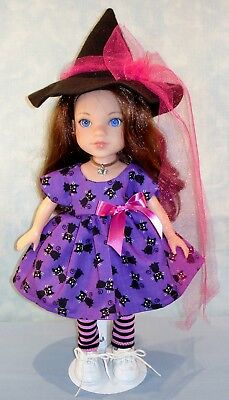 14 Inch Doll Clothes Black Cats on Purple Halloween Witch Outfit by Jane Ellen