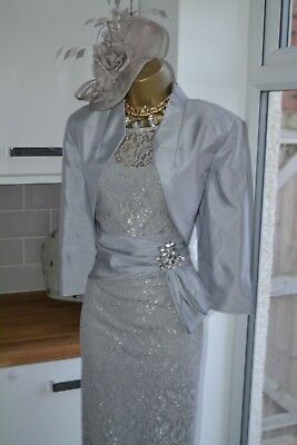 Nightingales Silver Lace Dress Jacket Size 16 18 Mother