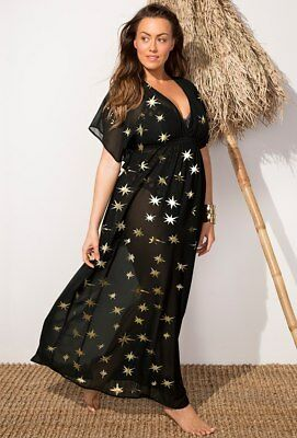 Swimsuits For All Gabi-Fresh Maxi Dress Coverup Black W/gold Foil Stars 18/20 Bn