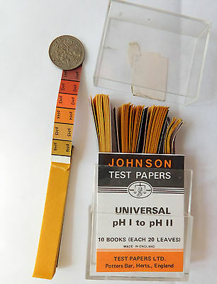 Johnsons Universal Test Papers pH1-11 acid alkali indicator strips vintage 1960s