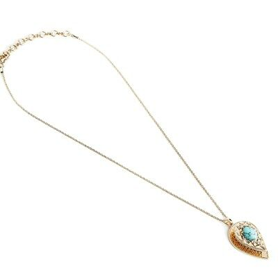 New SAMANTHA WILLS Nightfall Lustre Pendant Necklace Turquoise Gold Tag Pouch