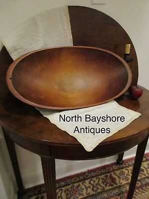Antique 1800s New England Black Ash Wood Large Hand Hewn Trencher Bowl aafa