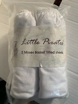 Baby Pram Crib Moses Basket Jersey Fitted Sheet 100% Cotton White 30 x 75cm