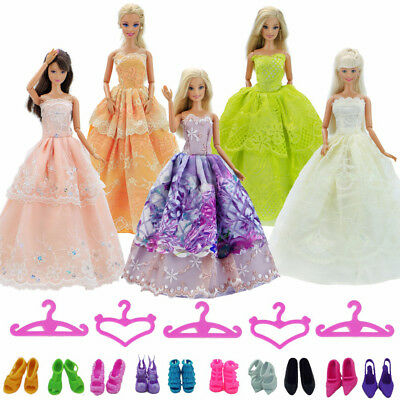 30 Pcs = 10 Random Party Gown Dress 10 Hangers10 Shoes For 12 in. Doll Clothes A