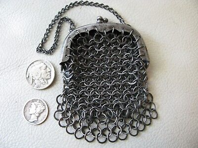 Antique Victorian French Doll Child Chatelaine Flat Ring Mesh Coin Purse 1800s