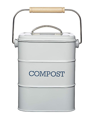 French Grey Vintage Metal Kitchen Compost Bin Caddy Tin for Food Waste/Scraps