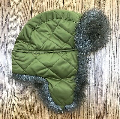 f4ec57691d879 Eddie Bauer Womens L XL Trapper Hat Down Feather Bomber Green Winter