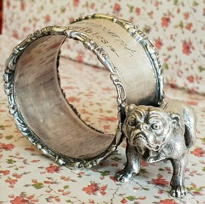 Vintage BULLDOG NAPKIN RING epns silverplate figural Dog antique collectable