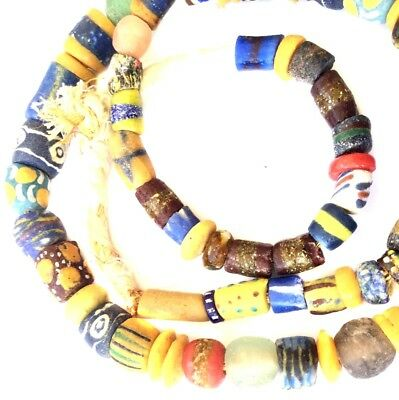 Fine Authentic Handmade Mixed Ghana Powder-Glass African Trade beads-Ghana