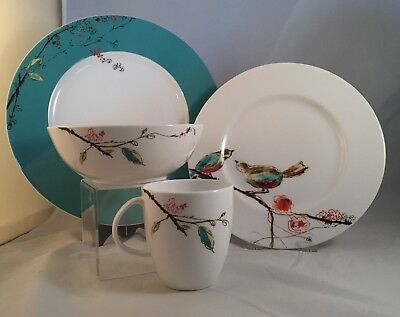 Lenox Simply Fine CHIRP 4-Piece Place Setting Dinner Salad Soup Cup
