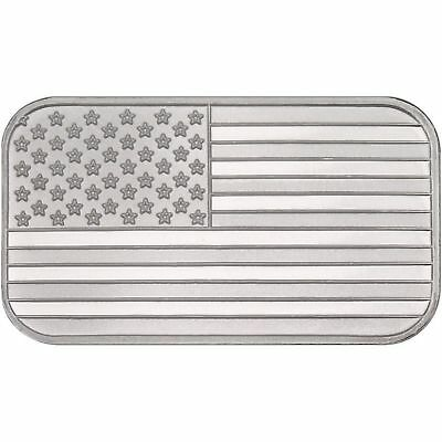 1  -  1 oz. 999 Fine Silver Bar - American Flag - Uncirculated -Sealed in Vinyl