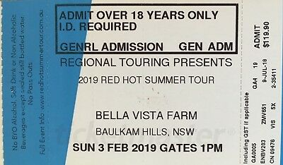 Red Hot Summer Tour Ticket - Bella Vista SUNDAY 3 FEB 2019 - SOLD OUT - $199.90