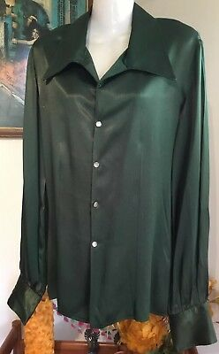 Vintage 70s Glam costume show green satin wide collar long sleeve Shirt M