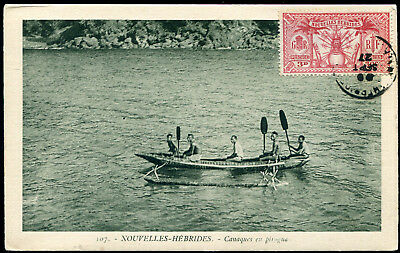 New Hebrides 1927 postcard with overinked SERVICE MARITIME cancel, unaddressed