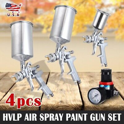 4Pcs Spray Tool Kit HVLP Gravity Feed 3 Tool Air Gauge 0.8mm 1.4mm 1.7mm