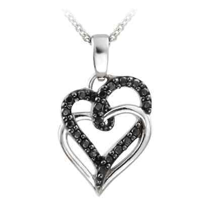 DB Designs Sterling Silver Black Diamond Accent Double Heart Necklace