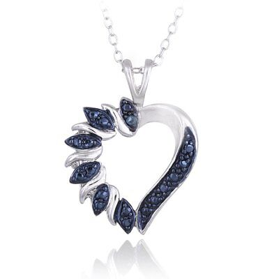 DB Designs Sterling Silver Blue Diamond Accent Heart
