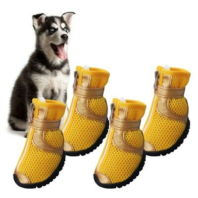 4pcs Dog Shoes Small Large Anti-slip Mesh Boots Booties for Snow Rain Reflective