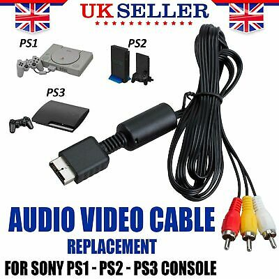 Audio Video AV Cable Replacement for Sony PS2 PS3 Console Lead Wire 1.5m Black
