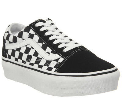 0448fe586aa0 Womens Vans Old Skool Platform Trainers Black Checkerboard True White  Trainers S