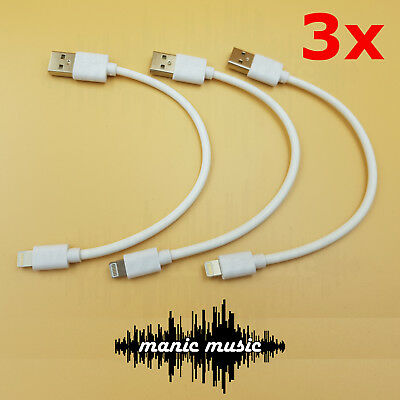 3x Short Lightning USB Data Cable Fast Charging 20cm Cord iPad iPhone