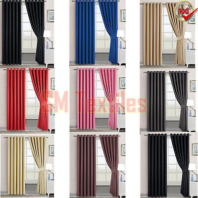 Luxury Thermal Blackout Curtain Eyelet Ring Top Plain Solid Home Doors 2019