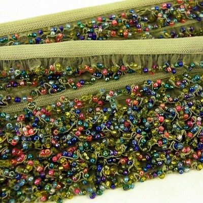 1m x Seed Beads  Stretch Beaded Fabric Trim Costumes, Dress, Crafts Green ST33
