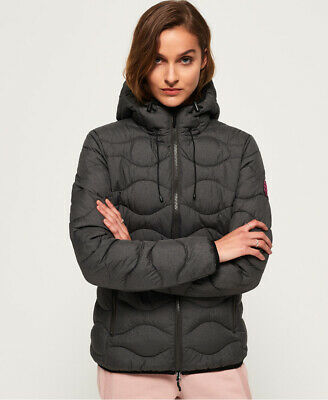 New Womens Superdry Astrae Quilt Padded Jacket Dark Grey