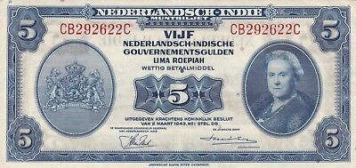 Indonesia Netherlands Indies 5 gulden 1943 / Vf/Xf / P 113 a / 394