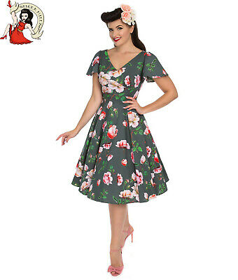 UK Sizes 50s Retro Vintage Style Hearts and Roses Heavenly Audrey Dress