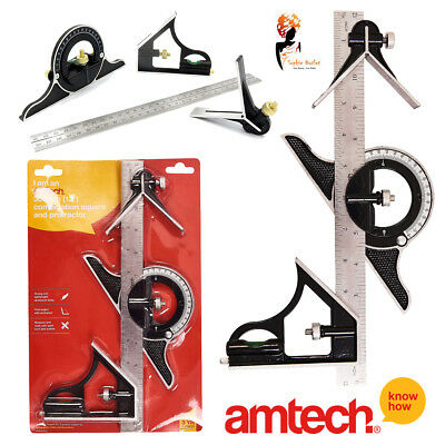 "12"" Combination Square Measuring Ruler Protractor Angle finder Rule Amtech P4010"