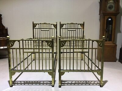L@@K Fantastic Pair Late Victorian Single Brass Beds