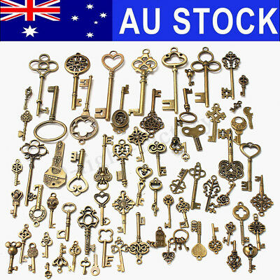 AU 70Pcs/Lot Bronze Keys Vintage Antique Old Look Skeleton Heart Bow Pendant AU