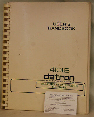 Datron 4101B Multimeter Calibration Software User's Handbook