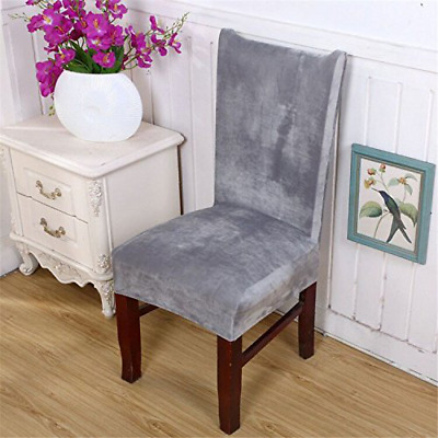 Stretch Dining Room Chair Covers Removable Velvet Short Protector Slip Covers