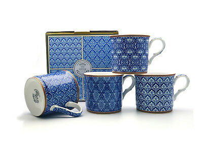 Fine Bone China Set Of 4 Gift Boxed Mugs Morrocon Blue Design
