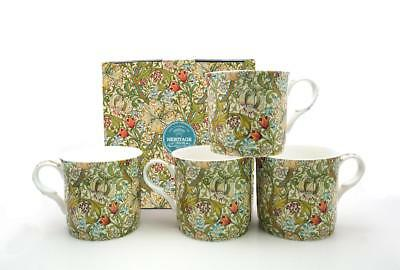 Fine Bone China Set Of 4 Gift Boxed Mugs William Morris Golden Lillys  Design