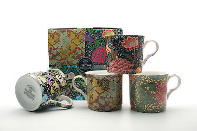 Fine Bone China Set Of 4 Gift Boxed Mugs William Morris Assorted  Designs