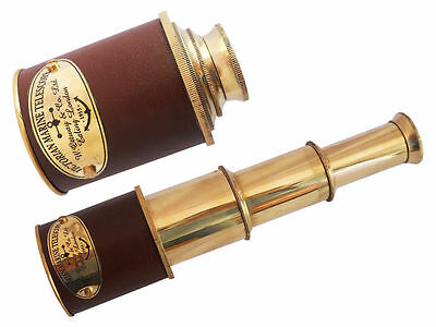Vintage Nautical Telescope Brass Pirate Spyglass Scope with leather case
