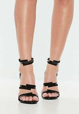 8a2ebd92c MISSGUIDED Black Clear Cross Over Strap Barely There Heels UK 3 (camg165)