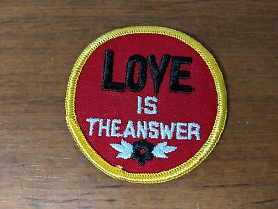 """Vintage NOS """"Love is the answer"""" Fabric Patch 1970's Hippie Flower Power Red"""