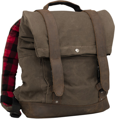 Burly Brand Dark Oak Waxed Cotton Canvas Leather Roll Top Back Pack
