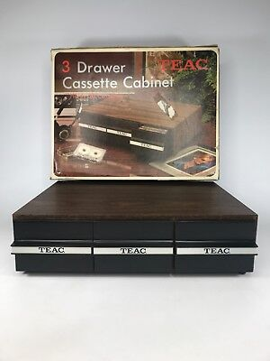 Vintage TEAC 3/Drawer Cassette Cabinet Holds 36 Tapes Wood/Vinyl NEW OLD STOCK