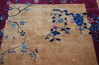 Circa 1920s ANTIQUE MINT ART DECO CHINESE WALTER NICHOLS RUG 4x6.6 CAMEL FIELD