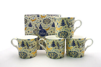 Fine Bone China Set Of 4 Gift Boxed Mugs Enchantment  Design