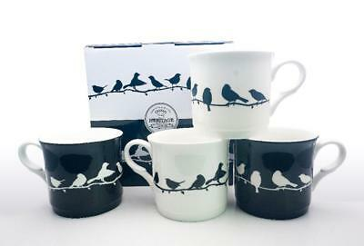Fine Bone China Set Of 4 Gift Boxed Mugs Bird Silhouette Design