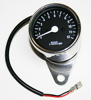 "Custom Mini 2.25"" Tachometer 5:1 Ratio Mechanical Drive Chrome Body Black Face"