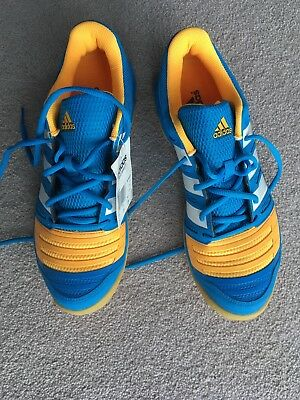 39aa45c898ebf Adidas Court Stabil 11 Indoor Shoes Trainers Adults - Blue Yellow 8.5
